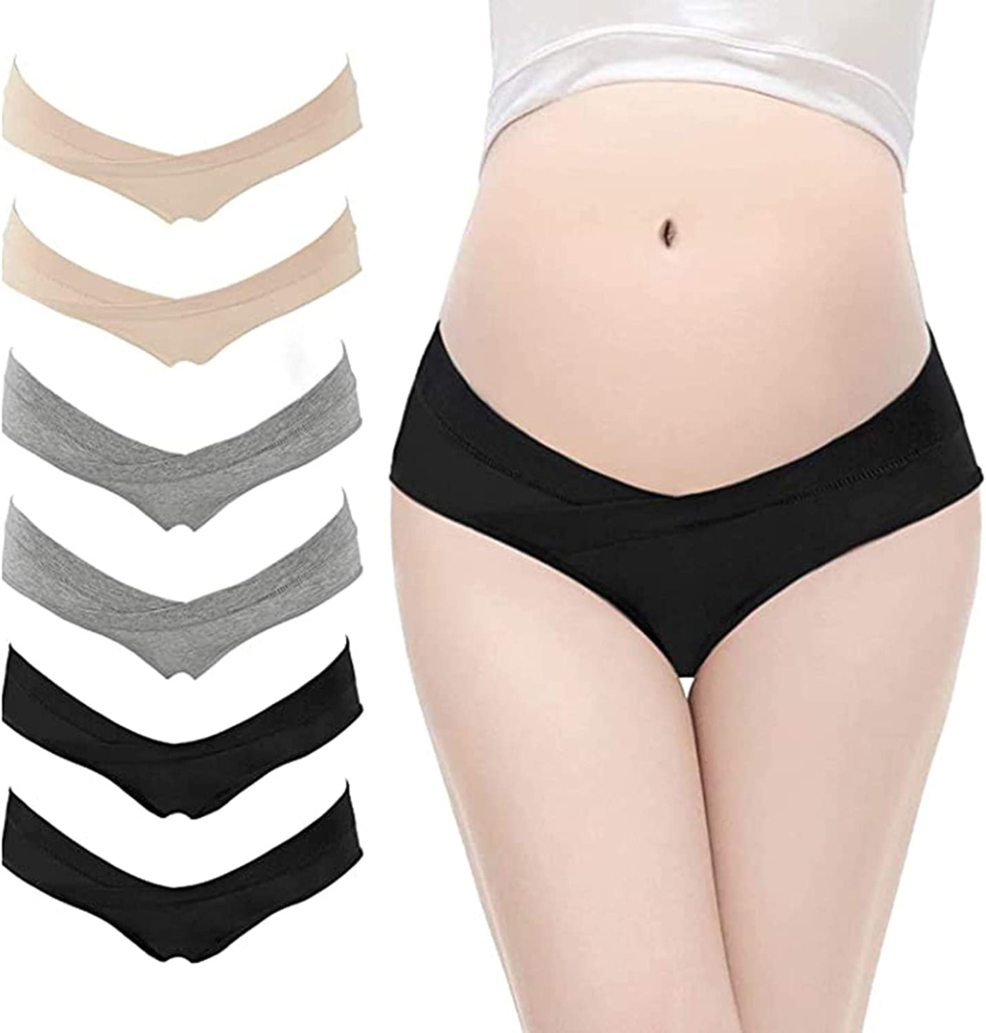 6 Pack Womens Cotton Maternity Underwear,Healthy Maternity Panties Postpartum Mother Low Waist V Shaped Underwear