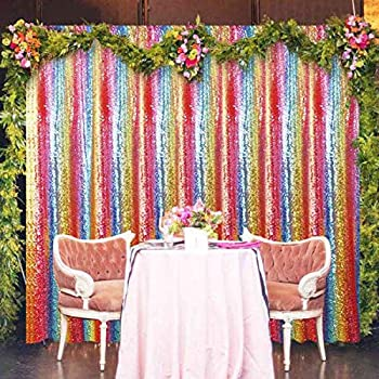 Sequin Backdrop Curtain 4FTx8FT Rainbow Glitter Sequin Curtain Wedding Background Gold Shimmer Backdrop Christmas Party Backdrop Sequence Curtains for Wedding  4FTx8FT Rainbow