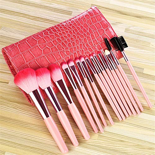 Pinceau de maquillage professionnel Set 15 pièce Set outil de maquillage débutant Fibre Ombre à Paupières Brosse Sourcils, Rose