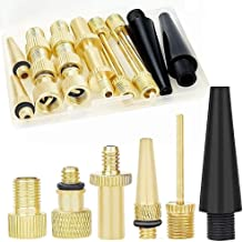 16PCS Brass Valve Adapter, Bike Tire Valve Adapters, Ball Pump Needle, Adapters Kit as Inflation Devices and Accessories f...
