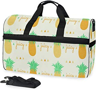 Travel Gym Bag Ananas Pineapple Pattern Yoga Bag With Shoes Compartment Foldable Duffle Bag For Men Women