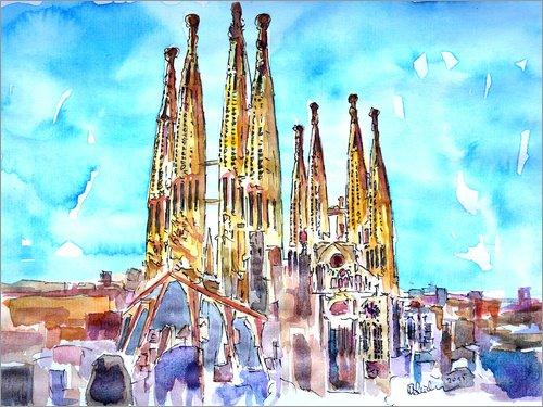 Posterlounge Acrylglasbild 40 x 30 cm: Türkiser Himmel über der Sagrada Familia von M. Bleichner - Wandbild, Acryl Glasbild, Druck auf Acryl Glas Bild