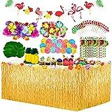 Yojoloin 128 Pcs Hawaiano Luau Falda de mesa Set de decoración,de fiesta tropical de 9.6FT con hojas de palma Flores hawaianas Paraguas y pajitas de Fruta decoraciones de mesa de fiesta Tiki de verano