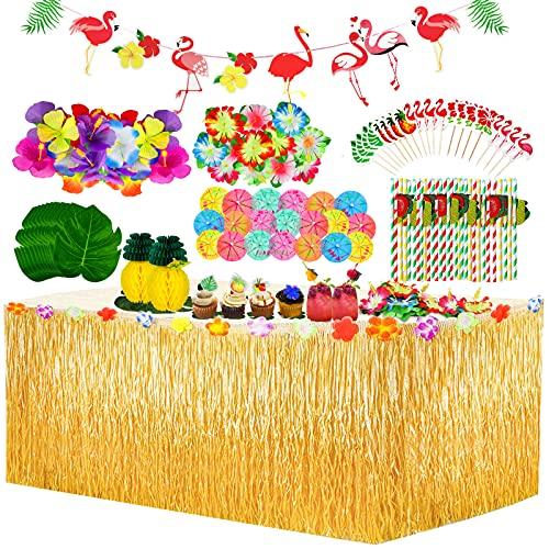 Yojoloin 128 Stück Hawaii Party Dekoration Set,Hawaii Luau Tischröcke,Hawaii Banner,Künstliche Palmenblätter,Kuchendeckel und Papier strohhalme für BBQ Tropischen Garten Tiki Party Dekoration