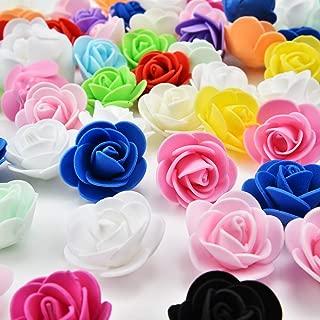 Mini PE Foam Rose Flower Head Artificial Rose Flowers Handmade DIY Wedding Home Decoration Festive & Party Supplies 50pc 3cm (Multicolor)