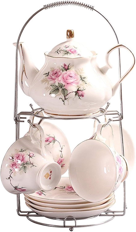 9 Pièces Européen Vintage Service à Thé Porcelaine avec Titulaire en Métal, Motif de Camellia Rose et Jante Dorée Service à Café,pour Ménage, Bureau, Mariage