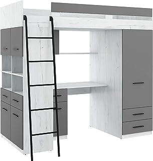 Lit Mezzanine avec Bureau, Tiroirs, Armoire et Bibliothèque – Level Gauche - (Craft Blanc/Graphite)