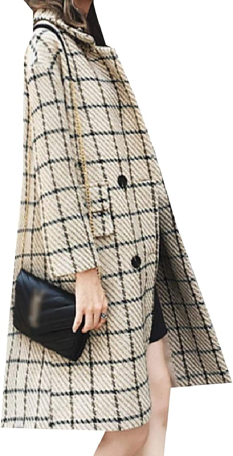 Baseby Women Casual Plaid Notch Lapel Trench Woolen Double Breasted Jacket