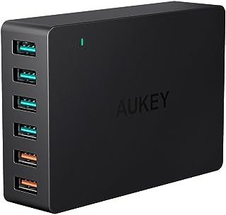 AUKEY Quick Charge 3.0 Cargador USB 60W 6 Puerto Cargador Móvil para Samsung Galaxy S8 / S8+ / Note 8, LG G5 / G6, Nexus 5X / 6P, HTC 10, iPhone XS/XS MAX/XR, iPad Pro/Air, Moto G4 y más