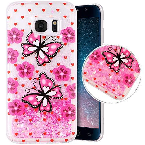 Coque Compatible avec Samsung Galaxy S7,Transparente Coque Paillettes Mobiles Glitter Liquide Motif Peint TPU Souple Silicone Housse Etui de Protection Complete Antichoc Brillant Gel Bumper,Papillon
