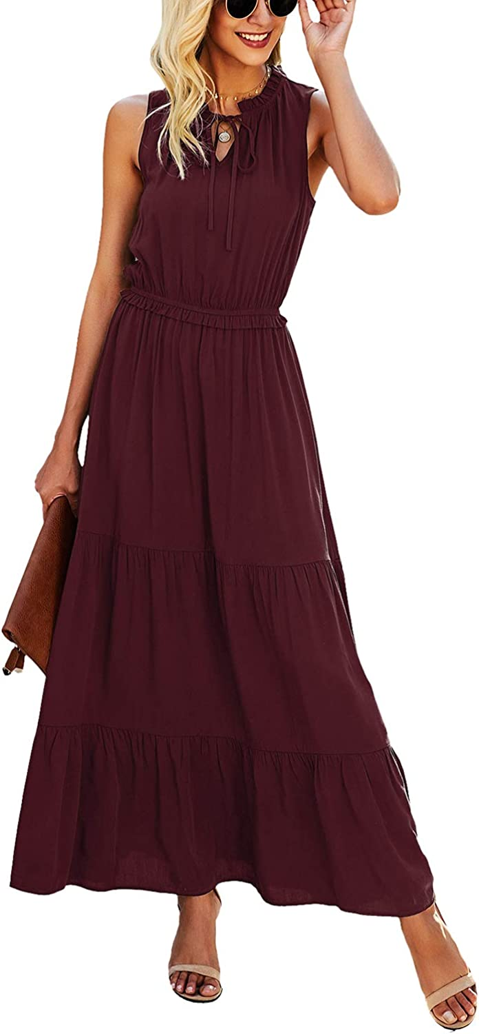 KIRUNDO In a popularity 2021 Summer Women's Sleeveless Solid Col Sales for sale Maxi Dress