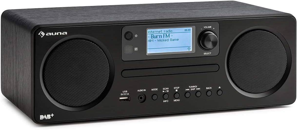 auna Worldwide CD - Radio de Internet, Bluetooth, Reproductor de CD con Dab/Dab+, Radiodespertador, Puerto USB con MP3, Spotify Connect, AUX, Control por aplicación, Negro