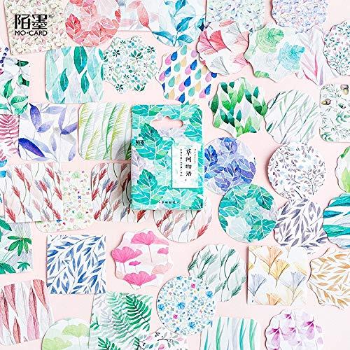 BLOUR Kreative grüne Pflanzen Gras Papier Aufkleber Flocken Vintage Romantik für Tagebuch Dekoration DIY Scrapbooking Briefpapier Aufkleber