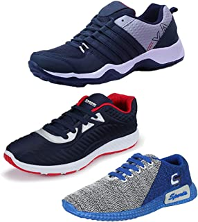 Bersache Men's Multicolor Combo Pack of 3 and Elegant Casual Wear Canvas Running Shoes (Size -9)