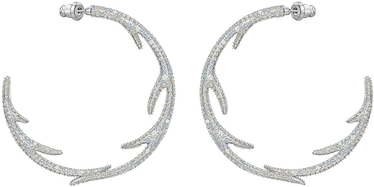 Swarovski Crystal Authentic Polar Bestiary Pierced Hoop Earrings, Rhodium Plated - Women's Elegant Hypoallergenic Fashion Jewelry - High End Cocktail and Everyday Fancy Accessory with Crystals