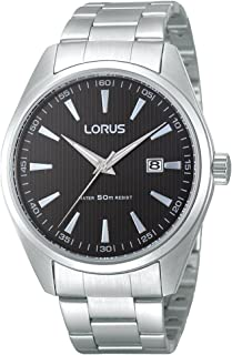 Lorus Mens Black Face Watch RH999CX-9 Stainless Steel Date 4894138317101