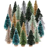 24Pcs Mini Christmas Trees Artificial Bottle Brush Trees Miniature Pine Tree Ornaments Artificial Sisal Trees with Wood Base for Christmas Decoration
