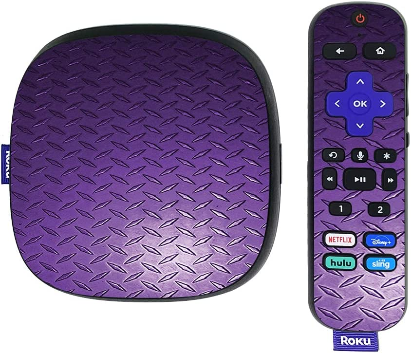 MightySkins Skin Compatible with Roku Ultra HDR 4K Streaming Media Player (2020) - Purple Diamond Plate | Protective, Durable, and Unique Vinyl Decal wrap Cover | Easy to Apply | Made in The USA
