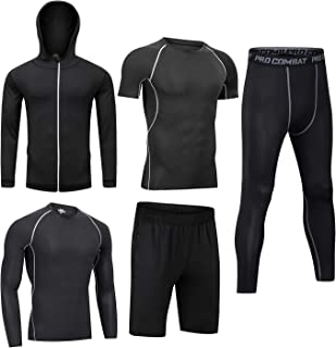 Men Workout Clothes Outfit Fitness Apparel Gym Outdoor Running Compression Pants Shirt Top Long Sleeve Jacket 4PCS or 5pcs
