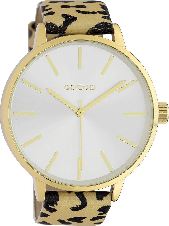 Oozoo Reloj de pulsera para mujer con aspecto de leopardo, correa de piel, estampado animal africano, 48 mm, dorado C10241