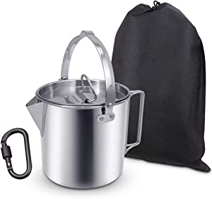 AITREASURE Camping Tea Kettle Stainless Steel Hiking Pot Portable Percolator Coffee Pot with Handles and with Lids for Camping Hiking Picnic