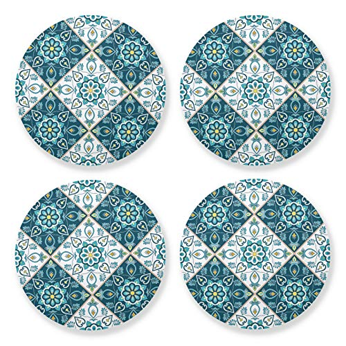 xigua 4 posavasos redondos para bebidas, resistentes al calor, con base de corcho, ligeros para mesa, tapete protector para tazas, baldosas de cerámica Talavera