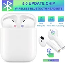 Bluetooth 5.0 Headset Wireless Earbuds Bluetooth Headphones 3D Stereo IPX5 Waterproof Pop-ups Auto Pairing Fast Charging for Samsung iPhone/Apple of airpod and Airpods Sports Earphone