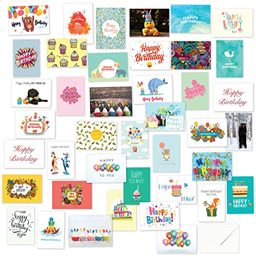40 Birthday Cards Assortment - Happy Birthday Card Bulk Box Card Sets for Women and Men, Children and Adults - Blank Cards with Envelopes