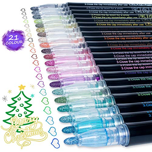 Doodle Dazzle Markers Pens Sets: AKARUED 21 Colors Glitter Outline Markers Self-Outline Metallic Marker, Double Line Metallic Shimmer Marker Paint Pen for Art Painting, Drawing, Writing for Adult, Kid