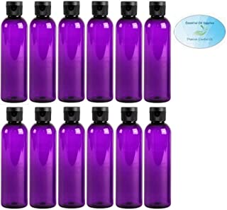 4 Ounce PET BPA-Free Plastic Empty Refillable Cosmo Round Bottles With Snap Top Caps (12 count, Purple)
