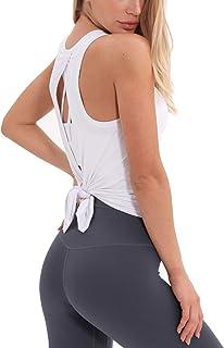 DREAM SLIM Women Tie Back Yoga Shirts Cute Sexy Loose Workout Racerback Crop Tank Tops