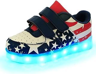 sexphd Kids Light Up American USA Flag USB LED Light Shoes Casual Sport Sneaker for Boys Girls