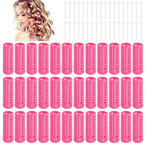 36Pcs Rulo de Pelo, Rulos de Rizadores de Peluquería, Rodillos de Cabello Plástico, Rodillos de Pelo Autoadhesivos para Mujeres y Niñas(Rosado)