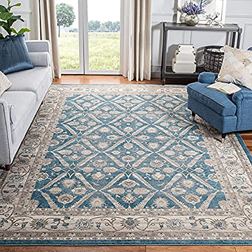 Blue and beige area rug