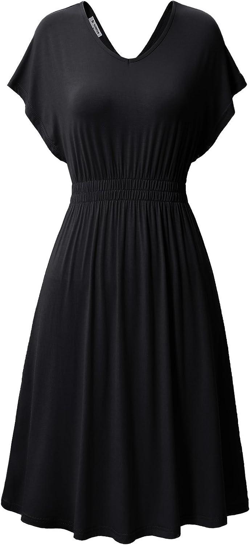Bulotus Women's Short Sleeve Double VNeck Cotton Jersey Casual ALine Dress