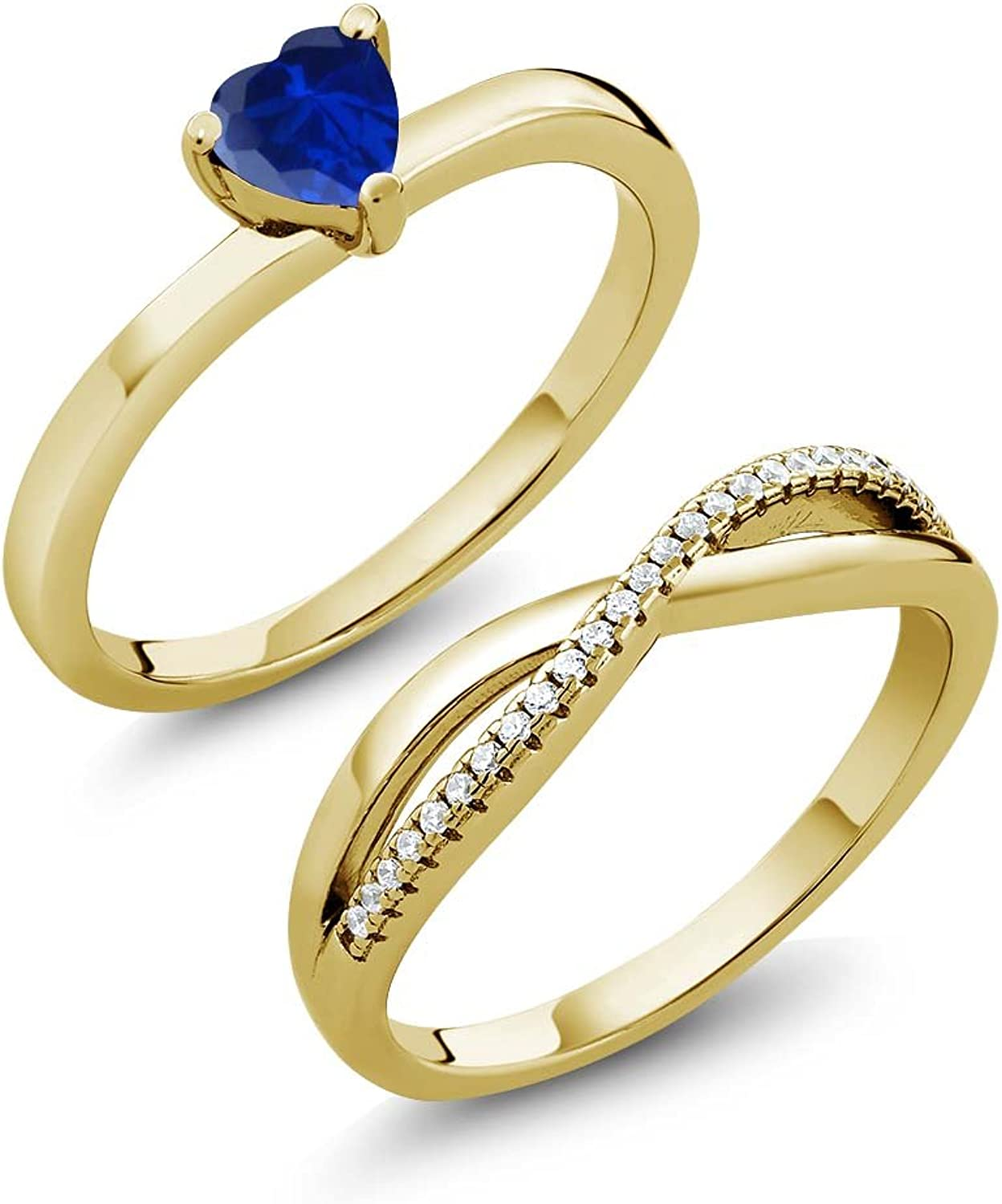 0.91 Ct Simulated Sapphire 18K Yellow gold Plated Silver Engagement Wedding Ring Set