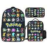 3 PCS Backpack 17 inch with Lunch Box Pencil Bag 3 Piece Set Suit for Men Women Teens, Adjustable Bookbag for Study