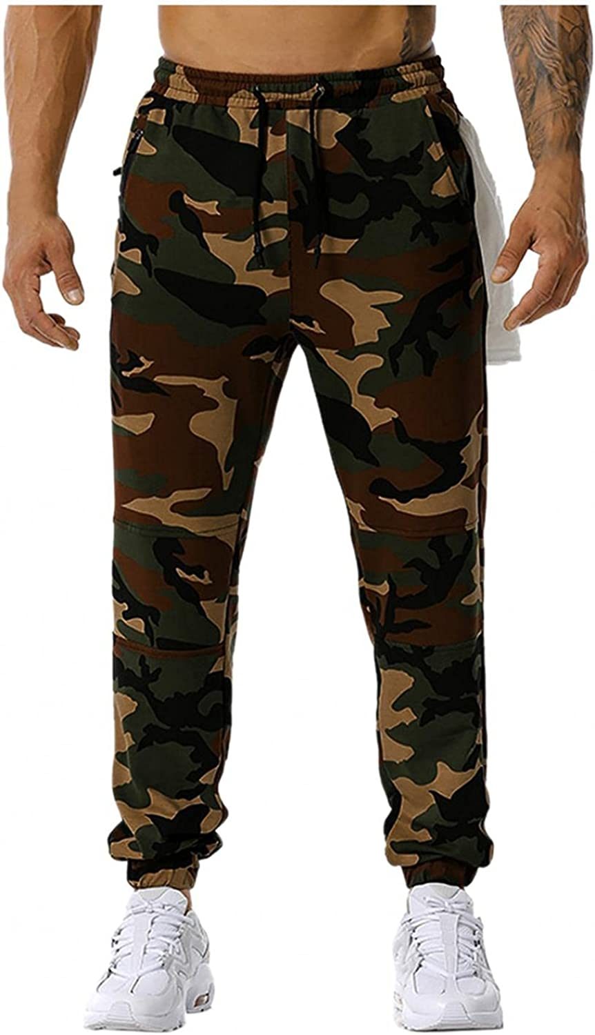 Beshion Men's Workout Athletic Sweatpants Elastic Waist Jogger Slim Running Pants Casual Camouflage Sports with Pockets