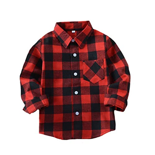 Autumn Kid Baby Girl Red Plaid Casual Button Down Shirt Dress Long Sleeve Blouse