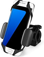 Flexzion Universal Bike Phone Mount Holder Adjustable - Handlebar Cradle Clamp for Bicycle Motorcycle Smartphone Devices Boating GPS Fits iPhone 7 Plus Samsung 360 Degrees Rotatable Rubber Strap