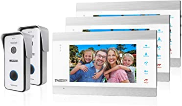 TMEZON WIFI 7 Inch 1080P Smart IP Wireless Video Doorbell Intercom System Entry Door Phone 3x Montior with 2x1200TVL Wired...