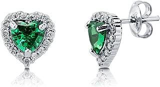 Rhodium Plated Sterling Silver Heart Shaped Cubic Zirconia CZ Halo Heart Stud Earrings