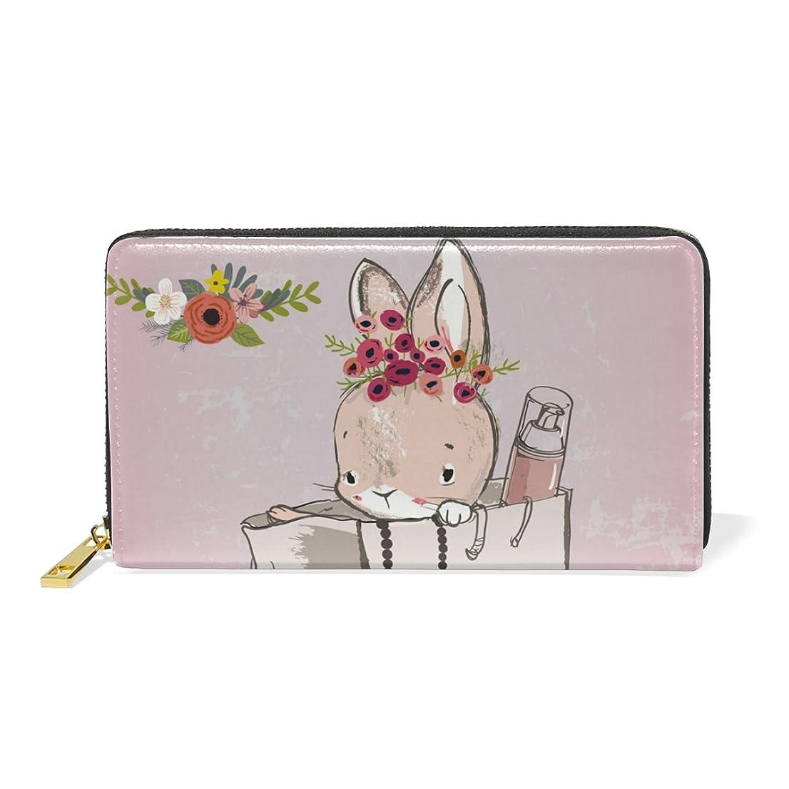 唯一雑品権限ALAZA 財布 兔柄 ウサギ柄 本革 大容量 18枚 多機能 ラウンドファスナー 小銭入れ付 レディース 二つ折り