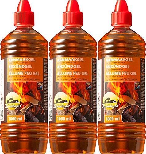 Moritz Grill Anzünder Gel für alle Arten von Kohle - Kamine - Brennpaste 1000 ml Flasche Tischgrill flüssiges Anzündgel Feuergel für Grill und Kamin geruchlose Brennpaste (3 Liter)