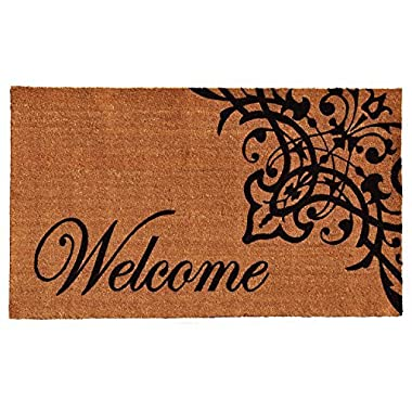 Home & More 121351729 Scroll Welcome Doormat, 17  x 29  x 0.60 , Natural/Black