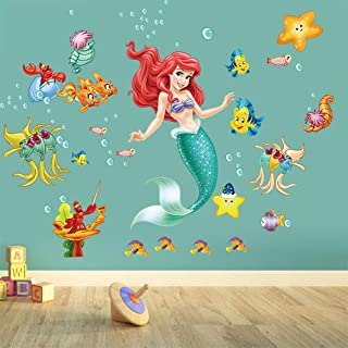 Runtoo The Little Mermaid Ariel Wall Stickers Under The Sea Princess Wall Decals Fairy for Girls Room Bathroom Baby Nursery Wall Décor