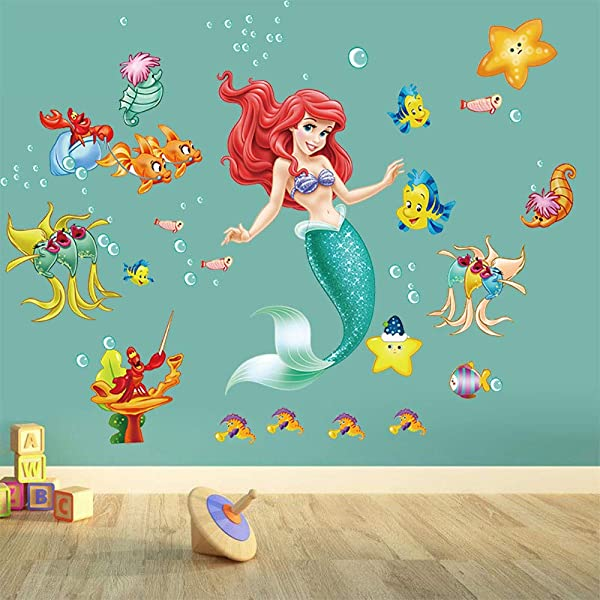 Runtoo The Little Mermaid Ariel Wall Stickers Under The Sea Princess Wall Decals Fairy For Girls Room Bathroom Baby Nursery Wall D Cor