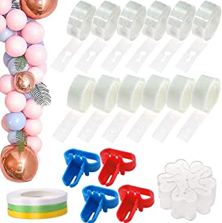 Balloon Decorating Strip Kit for Balloon Arch Kit 96 Feet Balloon Strip, 98 Feet Ribbon 4 Balloon Tie Tools 10 Flower Clip