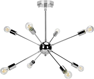 Chandelier Lighting, Modern Metal 8-Light Ceiling Light Lighting Fixture for Living Room, Bedroom, Dining Room, Kitchen Nicke