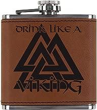 Old Glory Drink Like A Viking Valknut Symbol of Odin Etched Leatherette Flask Rawhide Standard One Size